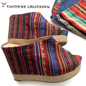 Chinese Laundry Wedge Peep-Toe Mexican Blanket